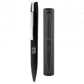 F500 Slim Mirror Finish Rubberised Pen with Tube