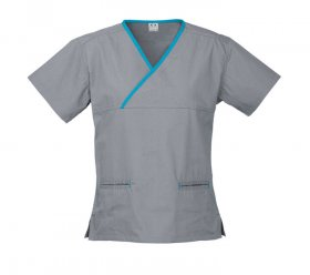 H10722 Ladies Contrast Crossover Scrubs Top